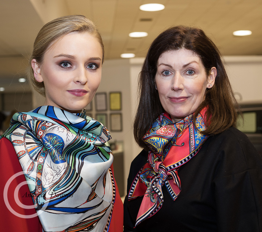 21/02/2018 REPRO FREE  The 2018 Irish Fashion Innovation Awards was launched at Monaghans & Sons Ltd showrooms.<br /> <br /> The 2018 Irish Fashion Innovation Awards take place on March 22nd at The Galmont Hotel & Spa, Galway<br /> At the stylish launch was attended by Catwalk model Ruth. and Designer Rita White . Photo:Andrew Downes, XPOSURE