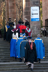 © under licence to London News Pictures 24/11/2010 Students at Coventry University were holding their graduation ceremony at Coventry Cathedral instead of taking part in the National Day of Protest. Picture shows senior lecturers and guests entering Coventry Cathedral..Picture credit: Dave Warren/London News Pictures...
