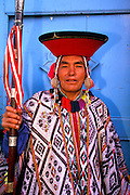 PERU, HIGHLANDS, MARKETS Pisac; village elder with staff