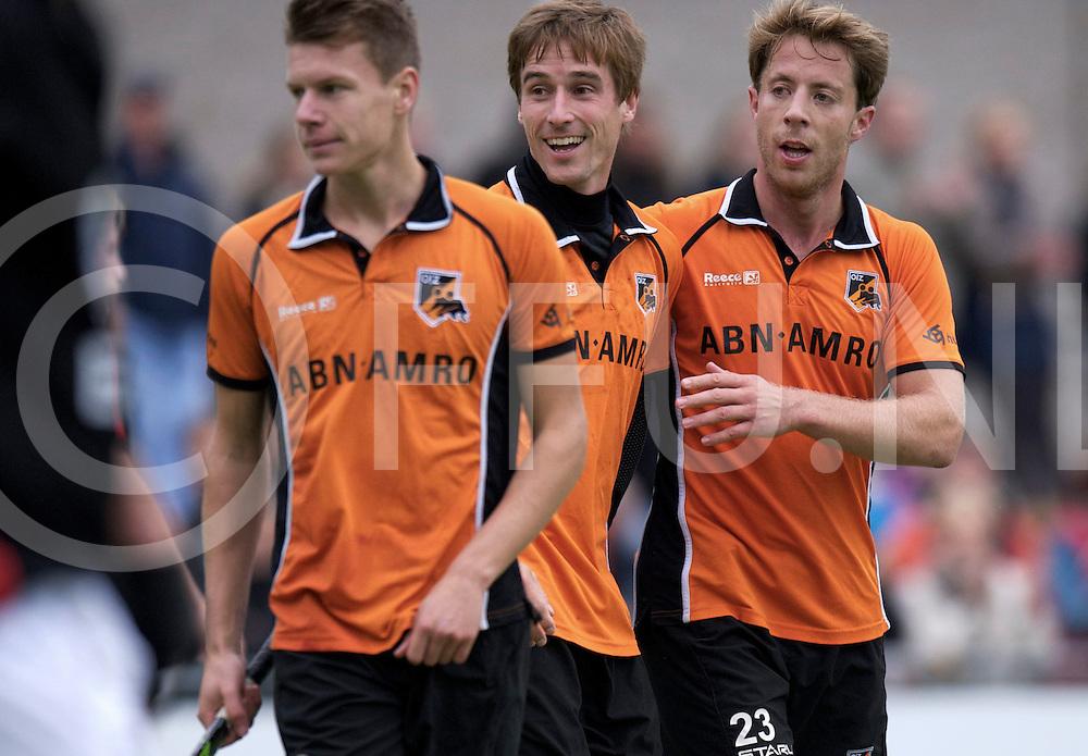 EINDHOVEN - Oranje Zwart- Schaerweijde<br /> Hoofdklasse mannen<br /> Foto: Galema Jelle, Rob Reckers en Maartens Thijs juichen voor een goal.<br /> FFU PRESS AGENCY COPYRIGHT FRANK UIJLENBROEK