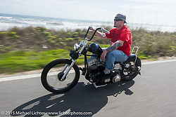 Chris Wade of Charlotte, NC on his custom 1953 Harley-Davidson Panhead riding north on A1A to Flagler Beach during Daytona Beach Bike Week  2015. FL, USA. Friday, March 13, 2015.  Photography ©2015 Michael Lichter.