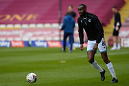 Scunthorpe United Emannuel Onariase (6) warming up, full length portrait during the EFL Sky Bet League 2 match between Bradford City and Scunthorpe United at the Utilita Energy Stadium, Bradford, England on 1 May 2021.
