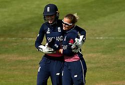 Sarah Taylor of England Women hugs Alex Hartley of England Women after her spell of bowling - Mandatory by-line: Robbie Stephenson/JMP - 09/07/2017 - CRICKET - Bristol County Ground - Bristol, United Kingdom - England v Australia - ICC Women's World Cup match 19