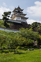 Kakegawa Castle or Kakegawa-jo was built by Asahina Yasuhiro but later the castle fell into the hands of Yamauchi Kazutoyo, a vassal of Hideyoshi Toyotomi.  Though not as imposing as Himeji Castle or Osaka Castle, Kakegawa has a modern park-like feel to it.  After the battle of Sekigahara the Toyotomi clan was defeated and Kakegawa Castle went under control of Tokugawa Ieyasu, one of the most influential men in Japanese history, and the founder of the Tokugawa dynasty, which controlled Japan until 1868.  Kakegawa had grown to be a wealthy castle town during the Edo Period thanks to its location on the mainline Tokaido Road between Kyoto.  Today Kakegawa Castle sits in parkland and is a pleasant, historic spot to visit in Shizuoka Prefecture.