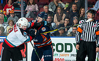 KELOWNA, BC - DECEMBER 27: Conner McDonald #7 of the Kelowna Rockets gets in the face of Ryley Appelt #23 of the Kamloops Blazers during second period at Prospera Place on December 27, 2019 in Kelowna, Canada. (Photo by Marissa Baecker/Shoot the Breeze)