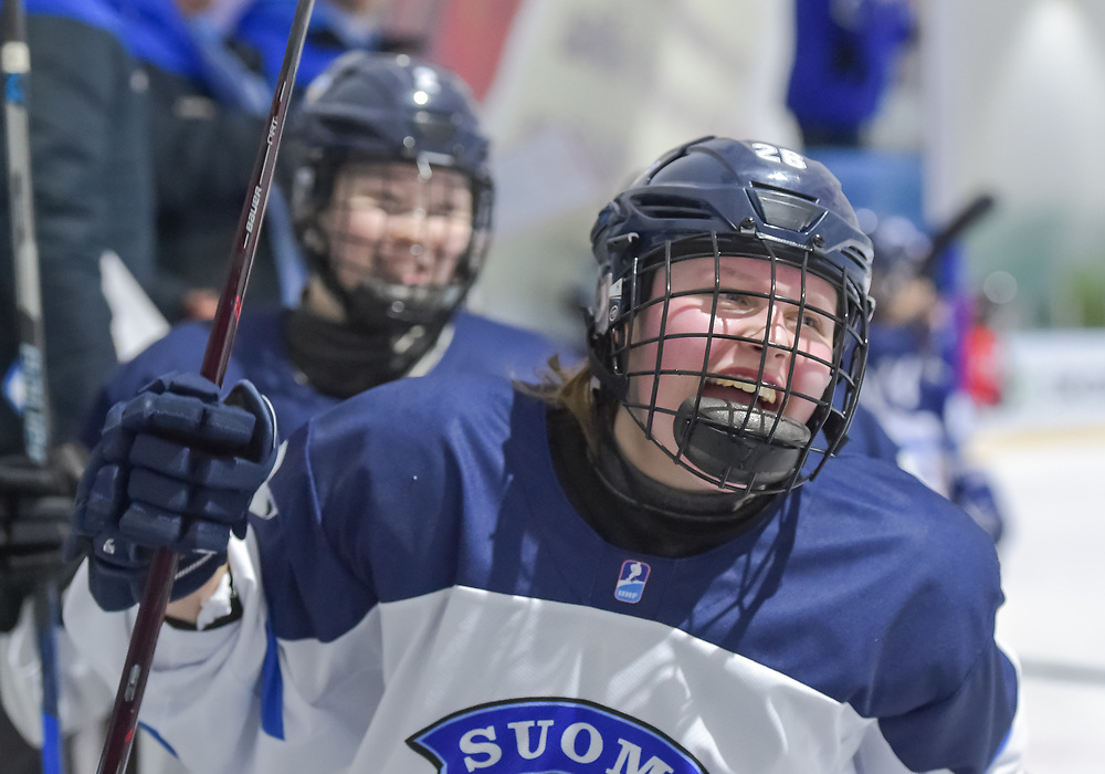 DMITROV, RUSSIA - JANUARY 7: Finland's Viivi Vanikka #26 celebrates after a third period goal against Switzerland during preliminary round action at the 2018 IIHF Ice Hockey U18 Women's World Championship. (Photo by Steve Kingsman/HHOF-IIHF Images)