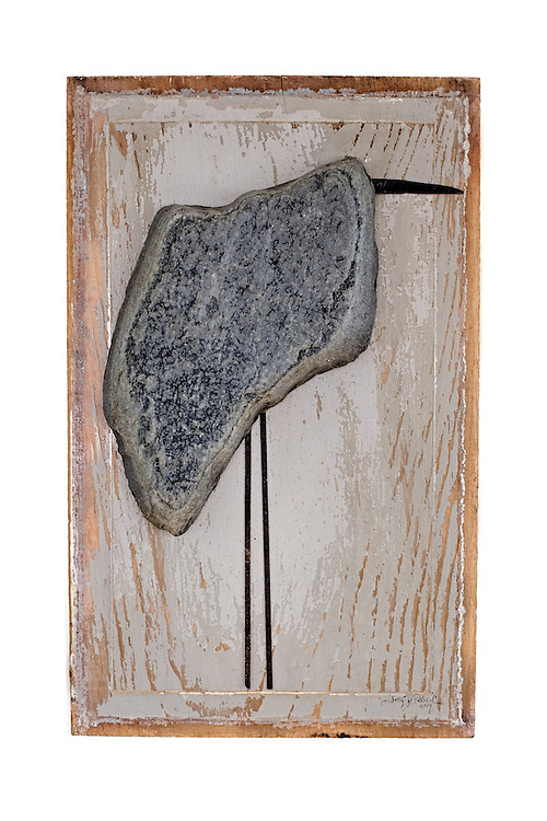 One of the bird sculptures on wood I photographed for mixed media artist Sally Jo Pollard. Made from rocks, metal and wood.