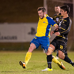 BRISBANE, AUSTRALIA - AUGUST 26: Matthew Capelo of Moreton Bay and Luke Marsh of the Strikers compete for the ball during the NPL Queensland Senior Men's Semi Final match between Brisbane Strikers and Moreton Bay Jets at Perry Park on August 26, 2017 in Brisbane, Australia. (Photo by Patrick Kearney)