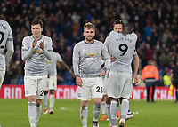 Football - 2017 / 2018 Premier League - Crystal Palace vs. Manchester United<br /> <br /> Manchester United players applaud their fans at the end of the game at Selhurst Park.<br /> <br /> COLORSPORT/DANIEL BEARHAM