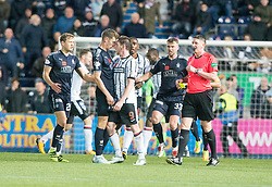 Falkirk's Aaron Muirhead at Dunfermline's Declan McManus after he had taclkled Dean Shiels, before McManus gets involved and gets a red card. Falkirk 1 v 1 Dunfermline, Scottish Championship game played 4/5/2017 at The Falkirk Stadium.