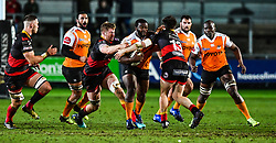 Cheetahs' Ox Nche is tackled by Dragons' Sam Beard<br /> <br /> Photographer Craig Thomas/Replay Images<br /> <br /> Guinness PRO14 Round 18 - Dragons v Cheetahs - Friday 23rd March 2018 - Rodney Parade - Newport<br /> <br /> World Copyright © Replay Images . All rights reserved. info@replayimages.co.uk - http://replayimages.co.uk