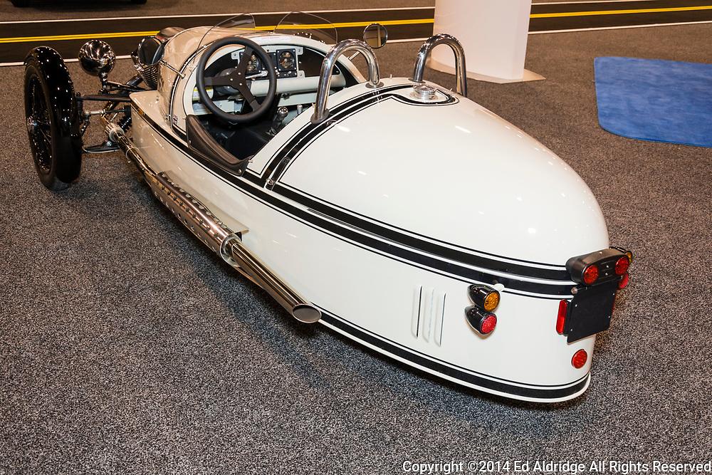 CHARLOTTE, NORTH CAROLINA - NOVEMBER 20, 2014: Morgan Three Wheeler on display during the 2014 Charlotte International Auto Show at the Charlotte Convention Center.