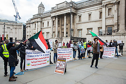 London, UK. 2nd February, 2019. Supporters of the Alliance of Sudanese Political Forces (ASPF) protest in Trafalgar Square against the government of Omar Hassan Ahmad al-Bashir and in solidarity with the Sudanese people.