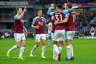 Burnley celebrate as Burnley forward Chris Wood (11) scores a goal 1-0 during the Premier League match between Burnley and West Ham United at Turf Moor, Burnley, England on 30 December 2018.