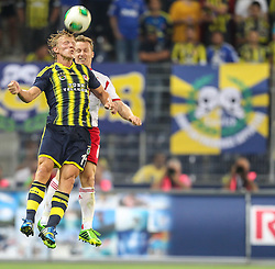 31.07.2013, Red Bull Arena, Salzburg, AUT, UEFA CL Qualifikation, FC Red Bull Salzburg vs Fenerbahce Istanbul, Hinspiel, im Bild Dirk Kuyt, (Fenerbahce Istanbul, #11) und Christian Schwegler (FC Red Bull Salzburg, #6) // during UEFA Champions League Qualification 1st Leg Match between FC Red Bull Salzburg and Fenerbahce Istanbul at the Red Bull Arena, Salzburg, Austria on 2013/07/31<br /> <br /> ***NETHERLANDS ONLY***