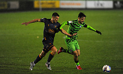 Ollie Clarke of Mansfield Town competes with Aaron Collins of Forest Green Rovers- Mandatory by-line: Nizaam Jones/JMP - 14/11/2020 - FOOTBALL - innocent New Lawn Stadium - Nailsworth, England - Forest Green Rovers v Mansfield Town - Sky Bet League Two