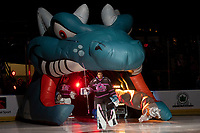 KELOWNA, BC - SEPTEMBER 21:  Roman Basran #30 of the Kelowna Rockets enters the ice for home opener against the Spokane Chiefs at Prospera Place on September 21, 2019 in Kelowna, Canada. (Photo by Marissa Baecker/Shoot the Breeze)