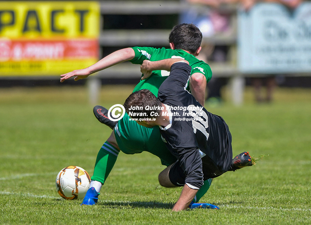 Ryan Jones (Duleek) and Brian Faulkner (Trim Celtic) in action, during the Trim Celtic v Duleek, NEFL (Premier) match in Tully Park, Trim.<br /> <br /> Photo: GERRY SHANAHAN-WWW.QUIRKE.IE<br /> <br /> 18-07-2021