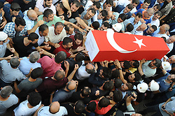 A funeral ceremony is held for the Turkish police Gokhan Kincak at Edremit, Balikesir, Turkey, August 28, 2016. Kincak was killed in a bombed truck attack in Cizre, in the southeastern province of Sirnak, Turkey on August 27. Photo by Abdurrahman Antakyali/Depo Photos/ABACAPRESS.COM