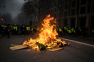 A barricade in a street next to the Champs Elysees. More than 125000 gathered in Paris for the Gilets Jaune (Yellow vest) protest. Soon the protest turned violent an protesters clashed with the police, tear gas and flash bombs were fired, many injured and arrested by the police. Paris December 6th 2018. Federico Scoppa