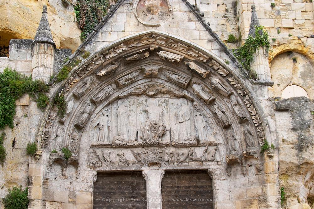 doors and portico eglise monolithe place du marche saint emilion bordeaux france