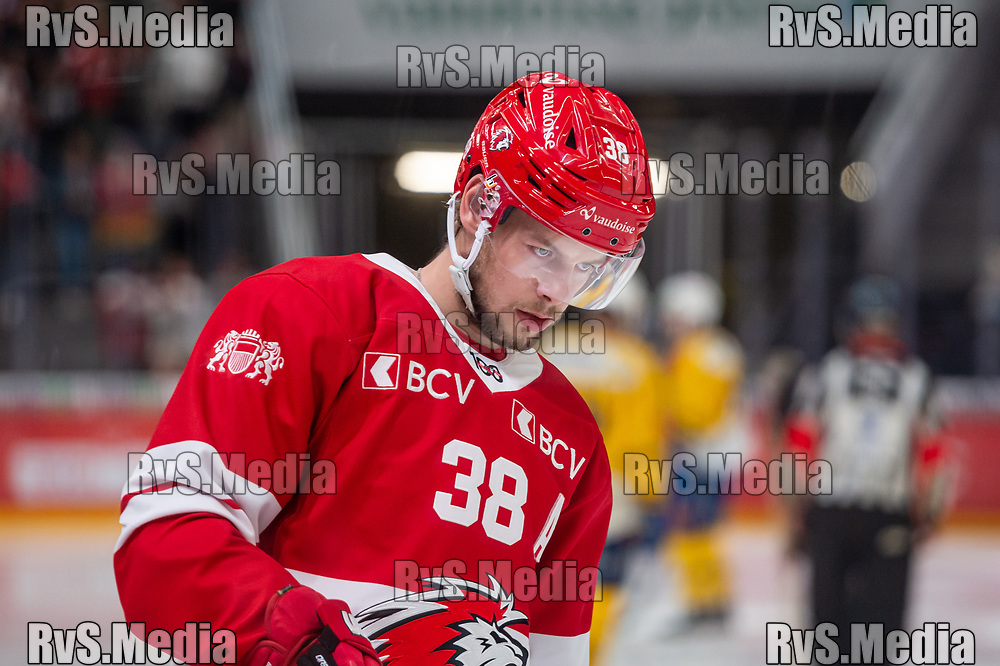 LAUSANNE, SWITZERLAND - SEPTEMBER 24: Lukas Frick #38 of Lausanne HC looks on during the Swiss National League game between Lausanne HC and HC Davos at Vaudoise Arena on September 24, 2021 in Lausanne, Switzerland. (Photo by Monika Majer/RvS.Media)