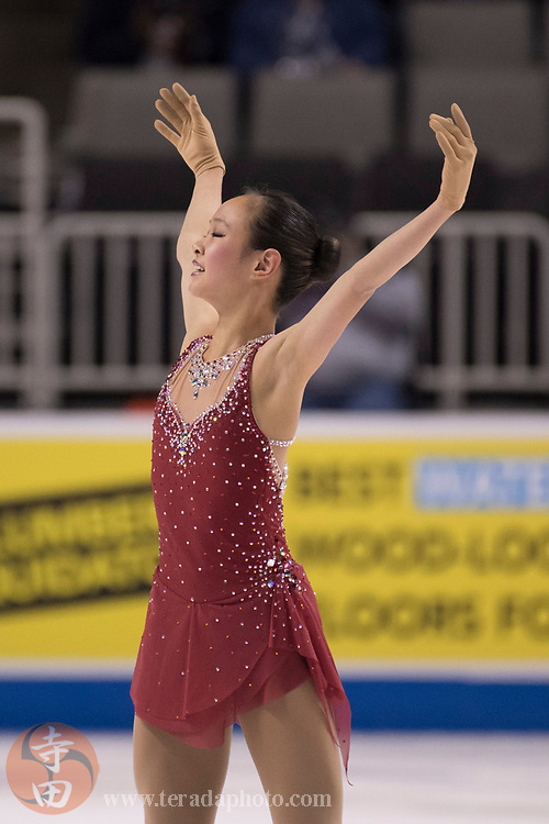 January 3, 2018; San Jose, CA, USA; Ashley Lin performs in the ladies short program during the 2018 U.S. Figure Skating Championships at SAP Center.