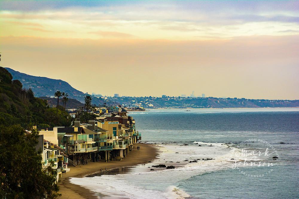 Beachfront homes on Escondido Beach, Malibu, California, USA