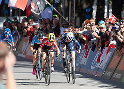 27.09.2018, Innsbruck, AUT, UCI Straßenrad WM 2018, Straßenrennen, Juniorinnen, von Rattenberg nach Innsbruck (72,4 km), im Bild v.l. Barbara Malcotti (ITA), Simone Boilard (CAN 3. Platz, Bronze Medaille), Laura Stigger (AUT, 1. Platz, Goldmedaille), Marie Le Net (FRA, 2. Platz, SIlbermedaille) // f.l. Barbara Malcotti of Italy Simone Boilard third place bronze medailist of Canada gold medalist and world champion Laura Stigger of Austria seconf place and silver medalist Marie le Net of France during the road race of the junior Women from Rattenberg to Innsbruck (72,4 km) of the UCI Road World Championships 2018. Innsbruck, Austria on 2018/09/27. EXPA Pictures © 2018, PhotoCredit: EXPA/ Reinhard Eisenbauer