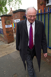 © London News Pictures. 03/05/2012. London, UK.  Labour Mayoral candidate KEN LIVINGSTONE leaving his local polling station at Nora Primary School in Cricklewood, London where he voted in the 2012 London mayoral elections on May 3, 2012. Photo credit: Ben Cawthra/LNP