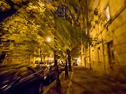 Evening street in Prague, Žižkov.