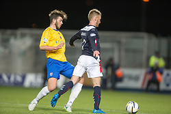 Falkirk's Craig Sibbald tackled in the box. <br /> Falkirk 1 v 0 Cowdenbeath, Scottish Championship game played 31/3/2015 at The Falkirk Stadium.