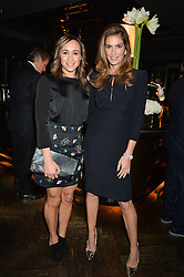 Left to right, JESSICA ENNIS-HILL and CINDY CRAWFORD at the OMEGA VIP dinner hosted by Cindy Crawford and OMEGA President Mr. Stephen Urquhart held at aqua shard', Level 31, The Shard, 31 St Thomas Street, London, SE1 9RY on 10th December 2014.