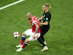 July 7, 2018 - Sochi, Russia - July 07, 2018, Sochi, FIFA World Cup 2018, the playoff round. 1/4 finals of the World Cup. Football match Russia - Croatia at the stadium Fisht. Player of the national team Fedor Kudryashov  (Credit Image: © Russian Look via ZUMA Wire)