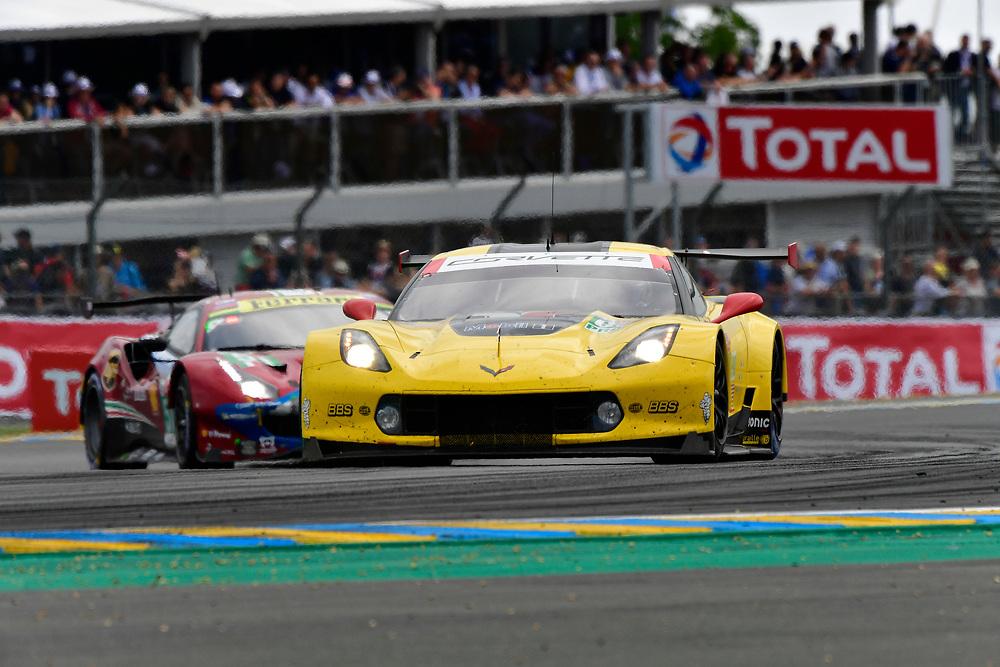 #63 Corvette Racing Chevrolet Corvette C7.R: Jan Magnussen, Antonio Garcia, Mike Rockenfeller<br /> Saturday 16 June 2018<br /> 24 Hours of Le Mans<br /> 2018 24 Hours of Le Mans<br /> Circuit de la Sarthe  FR<br /> World Copyright: Scott R LePage