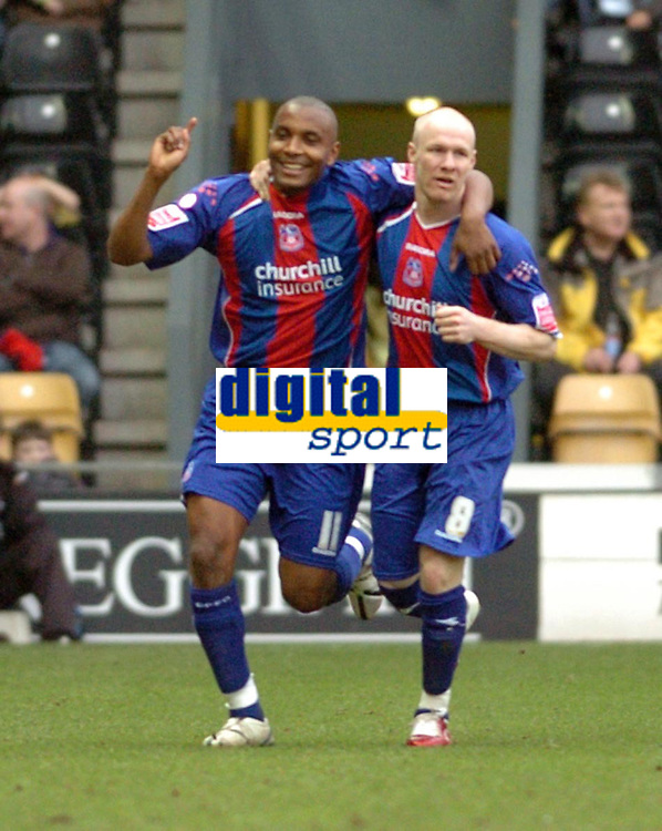 Photo: Leigh Quinnell.<br /> Derby County v Crystal Palace. Coca Cola Championship. 25/03/2006. Crystal Palaces Clinton Morrison celebrates his goal with Andy Johnson(R).