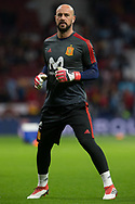 Pepe Reina of Spain warms up before the International friendly game football match between Spain and Argentina on march 27, 2018 at Wanda Metropolitano Stadium in Madrid, Spain - Photo Rudy / Spain ProSportsImages / DPPI / ProSportsImages / DPPI