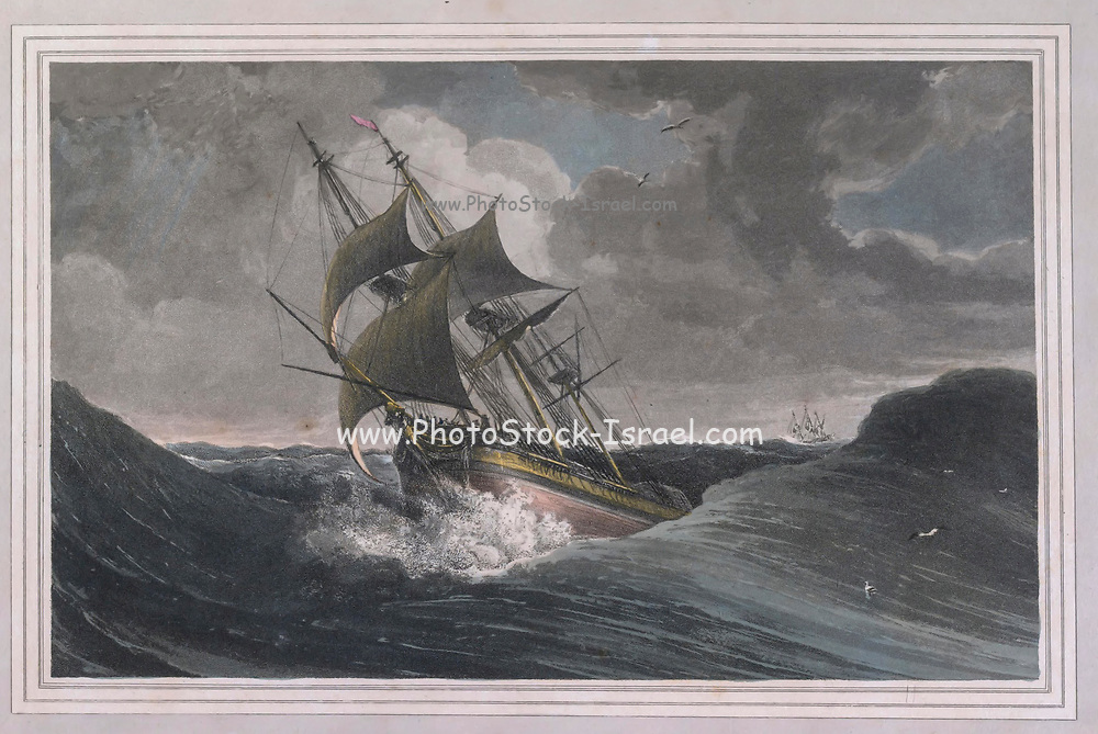 GALE OFF THE CAPE OF GOOD HOPE colour print from the book ' A Picturesque Voyage to India by Way of China  ' by Thomas Daniell, R.A. and William Daniell, A.R.A. London : Printed for Longman, Hurst, Rees, and Orme, and William Daniell by Thomas Davison, 1810. The Daniells' original watercolors for the scenes depicted herein are now at the Yale Center for British Art, Department of Rare Books and Manuscripts,