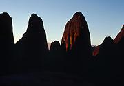 Sunrise light illuminating Entrada Sandstone fins, the Devils Garden, Arches National Park, Utah.