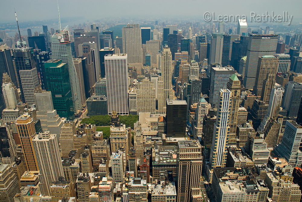 The North view from the Empire State Building on 5th Avenue in New York City - looking towards Central Park.