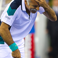 Mansour Bahrami from Iran plays an exhibition duo match together with Fernando Verdasco (not pictured) from Spain against Gael Monfils (not pictured) and Fabrice Santoro (not pictured) from France during the Tennis Classics tournament in Budapest, Hungary on October 29, 2011. ATTILA VOLGYI