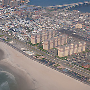 Aerial view of Rockaway beach boardwalks in Queens, NY