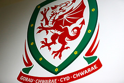The Wales National Team crest ahead of the 2018 FIFA World Cup Qualifying Group D match at the Cardiff City Stadium, Cardiff.