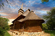 Wooden Church of Cuvioasa Paraschiva built in 1770, Desesti, Maramures, Northern Transylvania, Romania. UNESCO World Heritage Site .<br /> <br /> Visit our ROMANIA HISTORIC PLACXES PHOTO COLLECTIONS for more photos to download or buy as wall art prints https://funkystock.photoshelter.com/gallery-collection/Pictures-Images-of-Romania-Photos-of-Romanian-Historic-Landmark-Sites/C00001TITiQwAdS8<br /> .<br /> Visit our MEDIEVAL PHOTO COLLECTIONS for more   photos  to download or buy as prints https://funkystock.photoshelter.com/gallery-collection/Medieval-Middle-Ages-Historic-Places-Arcaeological-Sites-Pictures-Images-of/C0000B5ZA54_WD0s