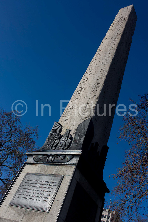 """The ancient Egyptian obelisk known as Cleopatra's Needle, on the Enbankment WC2. It is made of red granite, stand about 21 metres (68 ft) high, weigh about 224 tons and are inscribed with Egyptian hieroglyphs. They were originally erected in the Egyptian city of Heliopolis on the orders of Thutmose III, around 1450 BC. Cleopatra's Needle is the popular name for each of three Ancient Egyptian obelisks re-erected in London, Paris, and New York City during the nineteenth century. Although the needles are genuine Ancient Egyptian obelisks, they are somewhat misnamed as they have no particular connection with Queen Cleopatra VII of Egypt, and were already over a thousand years old in her lifetime. The London """"needle"""" was originally made during the reign of the 18th Dynasty Pharaoh Thutmose III but was falsely named """"Cleopatra's needle""""."""