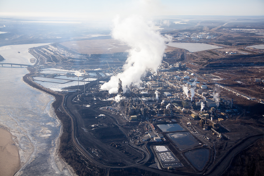 Suncor Oil Sands Mining Site on the banks of the Athabasca River