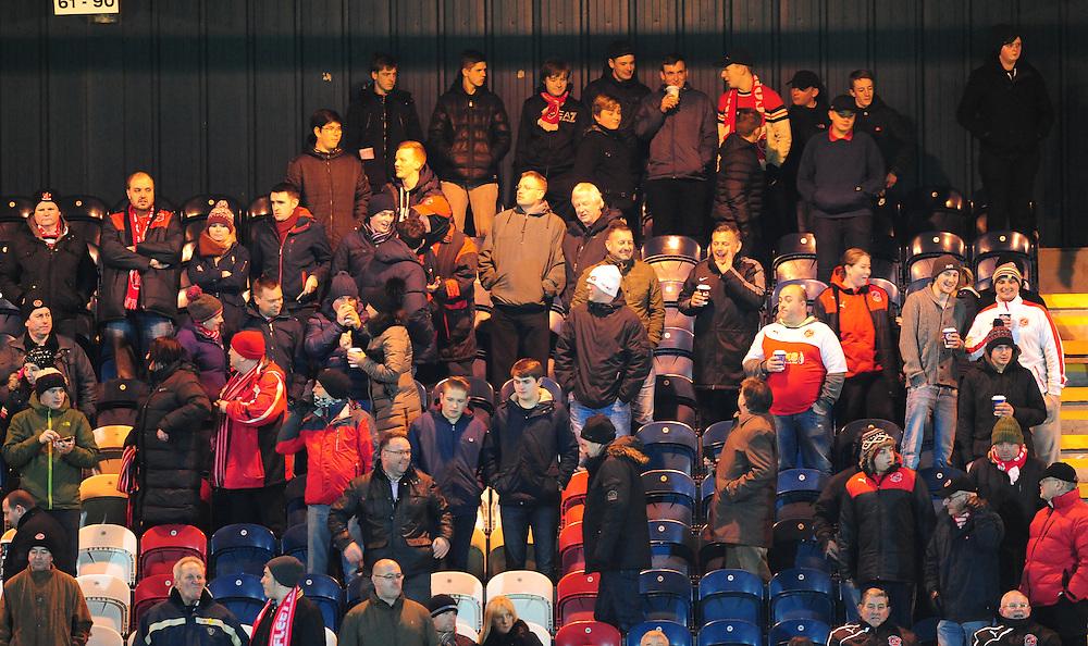 Fleetwood Town fans before kick off<br /> <br /> Photographer Chris Vaughan/CameraSport<br /> <br /> Football - The Football League Sky Bet League One - Rochdale v Fleetwood Town - Tuesday 23rd February 2016 - Scotland - Rochdale   <br /> <br /> © CameraSport - 43 Linden Ave. Countesthorpe. Leicester. England. LE8 5PG - Tel: +44 (0) 116 277 4147 - admin@camerasport.com - www.camerasport.com