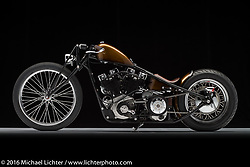 """""""Salvador"""", a root beer brown """"shortster"""" built from a 1974 Harley-Davidson Sportster by Cole Rogers of 138 Cycle Fabrication in Springboro, OH. Photographed by Michael Lichter during the Easyriders Bike Show in Columbus, OH on February 18, 2016. ©2016 Michael Lichter."""