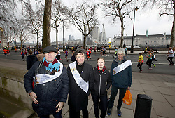 Members of City of Westminster Guide Lecturers Association during the 2018 London Landmarks Half Marathon. PRESS ASSOCIATION Photo. Picture date: Sunday March 25, 2018. Photo credit should read: John Walton/PA Wire