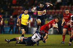 Billy Searle of Bristol Rugby is tackled by Michael Hills of Doncaster Knights - Mandatory by-line: Robbie Stephenson/JMP - 13/01/2018 - RUGBY - Castle Park - Doncaster, England - Doncaster Knights v Bristol Rugby - B&I Cup